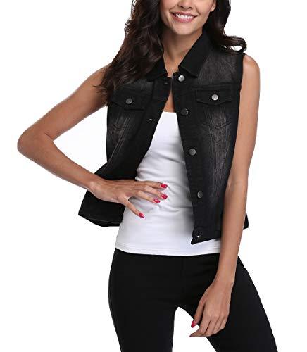 MISS MOLY Women's Sleeveless Frayed White Looking Lapel Denim Vest Button Up Dowm Denim Jacket Vests Coat w 2 Chest Pockets (Black Vest,L) - Chest Pocket Denim Coat