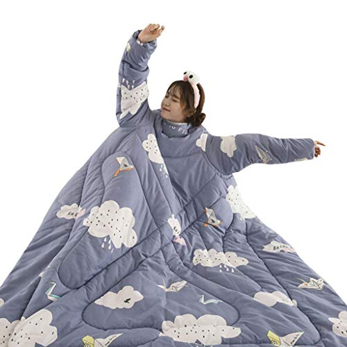 Lovers Winter Lazy Quilt with Warm Long Sleeve O-Neck Suit Print Thicken Quilt Blanket (Blue, 120cmX160cm/47.2''X62.9'') ()