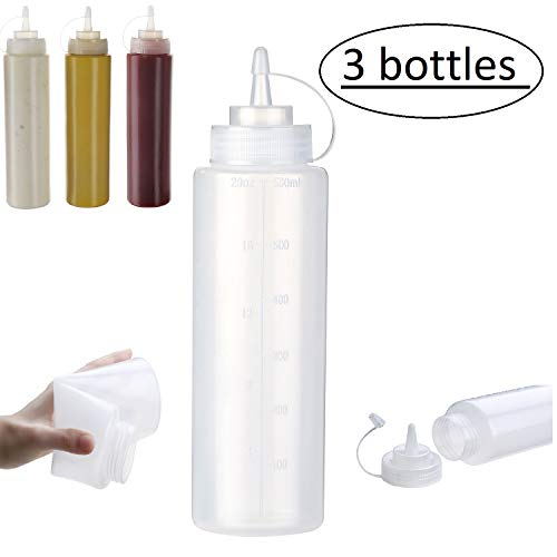 Condiment Squeeze Bottles 3 Pack - 20oz, Clear Plastic with Measurement Markings - For Sauces, Dressing, Ketchup and More