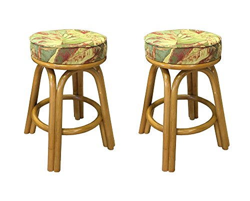 - Assembled in USA Rattan Backless Bar & Counter Stools (Set of 2) (#4208H-PJ) (30