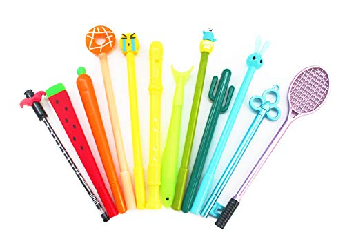 SKKSTATIONERY 12 PCS Gel Ink Pen Set, Cute Cartoon Favor, Different Styles Assorted