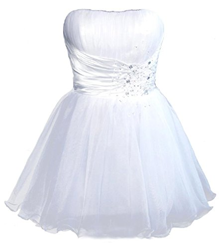 Snowskite Women's Short Strapless Beaded Organza Cocktail Party Homecoming Dress White 28