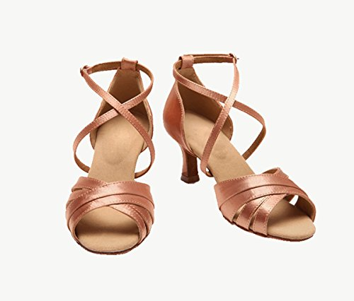 Strap Women's Ankle Miyoopark Wedding Latin Nude 5cm Salsa Ballroom 7 Sandals KS08 Heel Satin Uw65t5