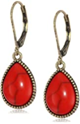 "NINE WEST VINTAGE AMERICA ""Classics"" Brass-Tone Coral Tear Drop Earrings"