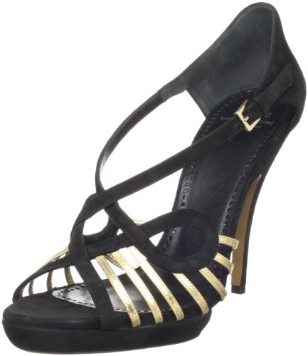 Moschino Cheap and Chic Women's Lux Sandal,Black/Gold,38 EU (US Women's 8 M)