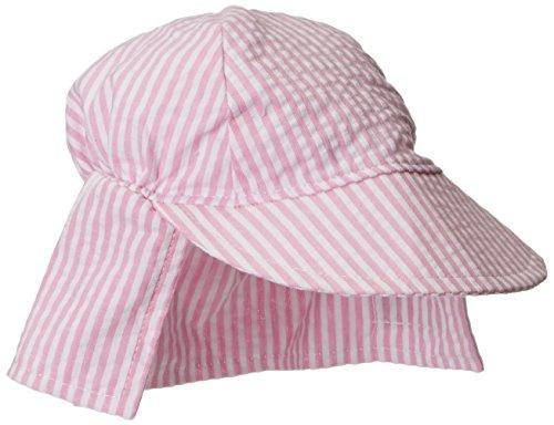 Flap Happy Baby Girls' UPF 50+ Original Flap Hat, Pink Stripe Seersucker, Small