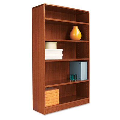 Alera BCR56036MC Radius Corner Wood Bookcase, Five-Shelf, 35-5/8 x 11-3/4 x 60-Inch, Medium (Alera Corner Bookcase Cabinet)