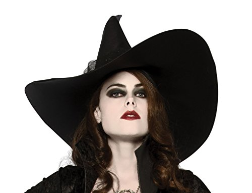 Faerynicethings Adult Size Black Witches Hat with Glitter Train - Opus Collection