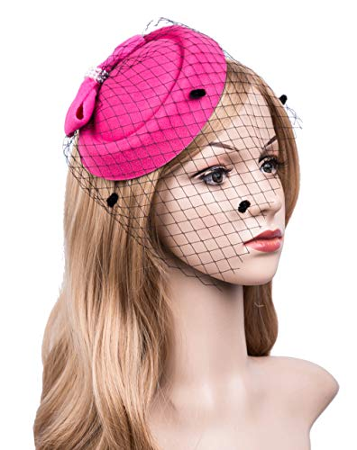 Cizoe Fascinators Hats 20s 50s Hat Pillbox Hat Cocktail Tea Party Headwear with Veil for Girls and Women (C-Rose) ()