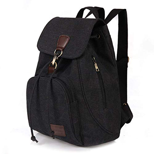ZOORON Drawstring Canvas Backpack Vintage Rucksack Daypack (Black) (Canvas Backpack Small)