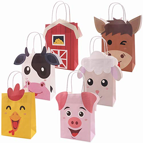 Farm Animal Party Favor Bags Barnyard Birthday Gift Treat Goody Bags Kraft Paper Centerpiece Decorations for Kids Baby Shower Supplies Pack of 12