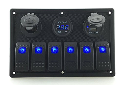 IZTOSS Digital Voltmeter+12V power Socket +Double USB Power Charger Adapter ABS plastic Flush Mount blue 6 gang rocker switch Panel Black RV Car Boat ()