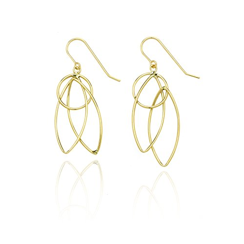 14k Yellow Gold Pointing Oval and Circle Dangling Drop Earring in Gift Box for Women and Teen Girls by SL Gold Imports