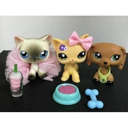 Amazon.com: 3 x Littlest Pet Shop Siamese pelo corto gato #5 ...