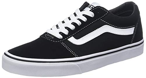 Vans Men's's Ward Low-Top Sneakers Suede/Canvas Black/White Car 7 ()