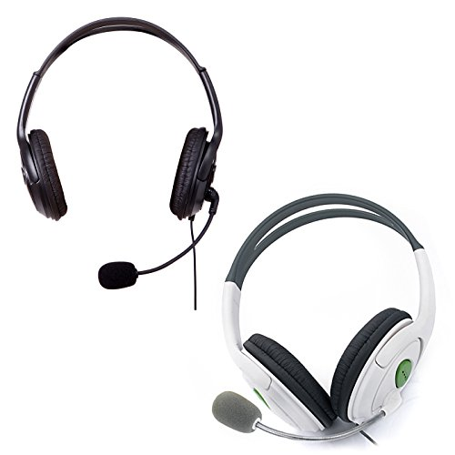 HDE XBOX 360 Headset Headphone Mic Game Chat Live Microphone Compatible with Wireless Controller (2-Pack BLACK & - Headset Xbox 360 Mute