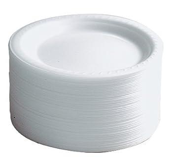 100 x 9\u0026quot; Thermo Disposable Foam Round White Plates  sc 1 st  Amazon UK & 100 x 9\