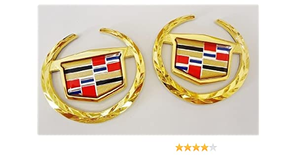 CHROME!! Cadillac WREATH /& CREST Emblems! PAIR!