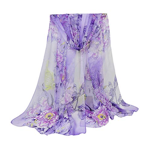 (Herebuy - Unique Women's Floral Scarves: Chiffon Flowers & Birds Printed Scarf (Purple-1))