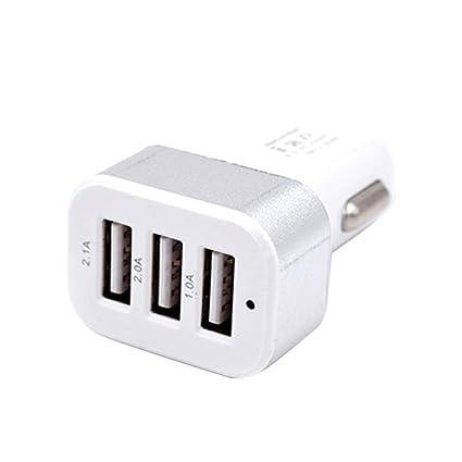 Sunlera DC 5.0V 2.1A Adaptador / 2A / 1A Coche Universal 3 Puertos USB Cargador de teléfono de Carga rápida Enchufe USB
