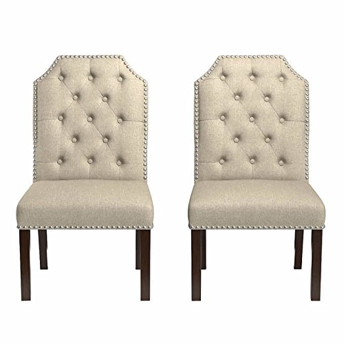 Groovy Amazon Com Michelle Button Tufted Dining Chair 2 Pack Tan Machost Co Dining Chair Design Ideas Machostcouk