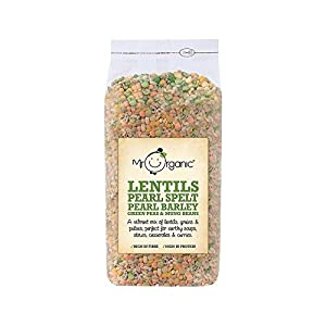 Mr Organic Lentils, Pearl Spelt, Pearl Barley, Green Peas & Mung Beans 500g