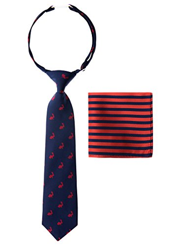 (Canacana Bunny Rabbit Woven Microfiber Pre-tied Boy's Tie with Stripes Pocket Square Gift Box Set - Navy Blue with Red - 24 months - 4 years, Christmas gift)