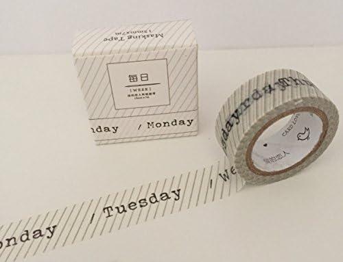 Días de la semana – Rollos de cinta adhesiva máquina de escribir letra – monocromo blanco gris oscuro – perfecto para revistas planificadores embarcaciones
