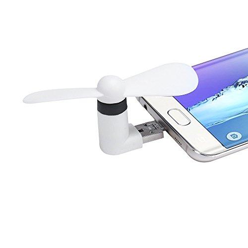 Heartly OTG Mini USB Cooling Portable Fan Mobile Cooler for V8 Android OTG Phone   Back White