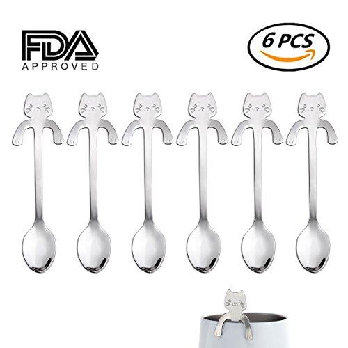 6 PCS Little Cat Coffee Spoon Stainless Steel Kitten Design Teaspoons Tea/Dessert/Drink/Mixing/Milkshake Spoon Tableware Flatware Gadgets - Edge Teaspoon