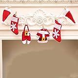 Christmas DIY Flag Christmas Pull flag Christmas Fireplace Decoration, Christmas Tree Decoration, 6Pcs/Set
