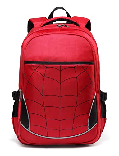 Kids Backpack for Boys Elementary School Bags Durable Kindergarten Bookbags (Red)