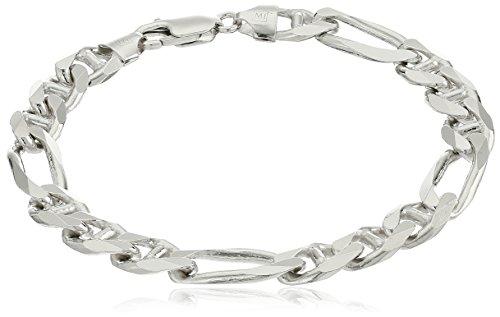 Figarucci Bracelet - Men's Sterling Silver Italian 10.00 mm Solid Figarucci Link Bracelet, 9