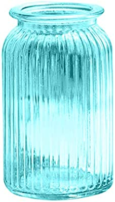 TELLW Jarrón de cristal europeo simulación flores secas