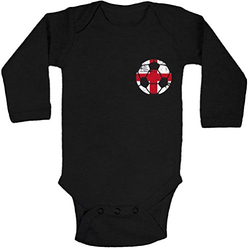 - Pekatees England Soccer Long Sleeve Baby Bodysuit English Baby One Piece Top Black 6M