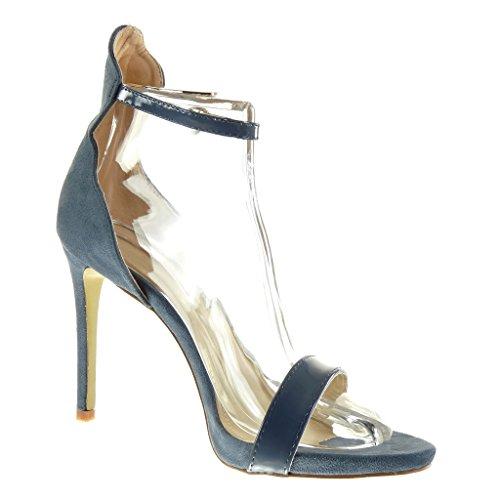 Angkorly Damen Schuhe Pumpe Sandalen - Stiletto - Knöchelriemen - Sexy - Schleife - Glänzende Stiletto High Heel 11 cm Blau