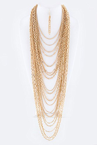 Trendy Fashion Jewelry Million Chains Statement Layered Necklace Set By Fashion Destination | (Gold)