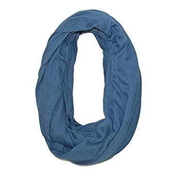 CTM Women's Solid Infinity Loop Scarf with Hidden Zipper Pocket, Navy