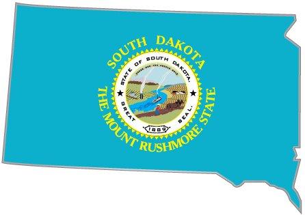 [South Dakota state map flag sticker decal 5
