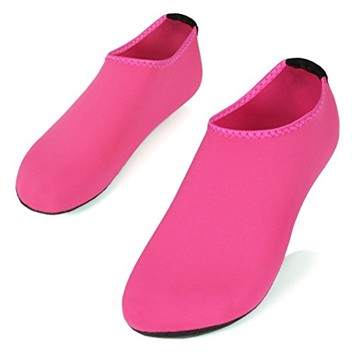 SHOESKISS Barefoot Water Skin Shoes Aqua Socks for Beach Swim Surf Yoga Exercise (3. L(W:8-9, M:7-8), Pink)