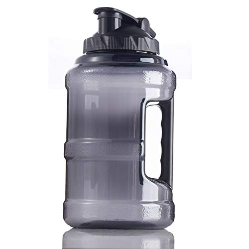 Gym Drinking Bottle, Large Plastic Fitness Water Jug for Outdoor Camping Fitness Training Bodybuilding, 2.5 Liters BPA Free Sports Water Bottle with Handle - Black