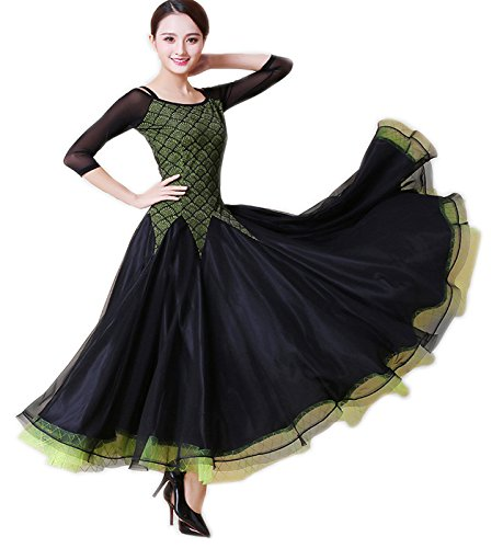 【WEB限定】 garuda 社交ダンス 上質レディースロングダンスドレス グリーン+黒色 競技ドレス 競技ドレス garuda B075B768PN 社交ダンス サイズS, ペット用品と雑貨のペットウィル:e8fe03d4 --- a0267596.xsph.ru