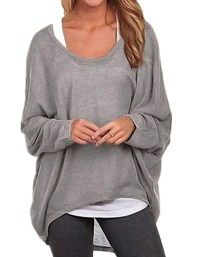 YOURNELO Women's Sexy Long Batwing Sleeves Loose Pullover Sweater Knit Tunic (L, Gray)