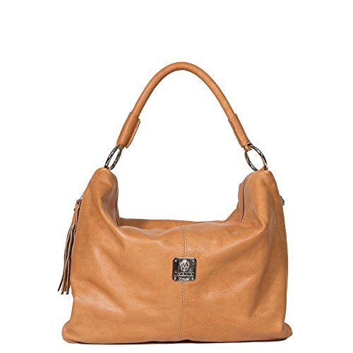 I Medici Bruna Italian Handbag, Shoulder Tote for Women in Brown