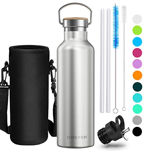 Creyer Stainless Steel Water Bottle, 500ml/17oz or 750ml/26oz Vacuum Insulated Double Walled Drinking Bottle, BPA Free Perfect for Outdoor, Office, Sports, with 2 Interchangeable Caps – 11 Colors