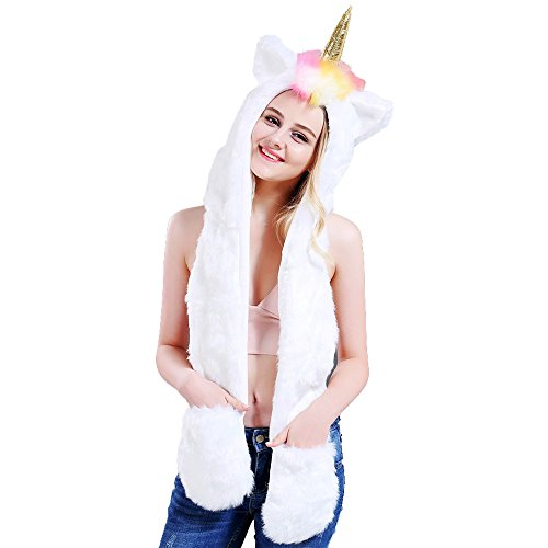 Missley 3-in-1 Unicorn Glove Scarf Hat Warm Soft Women Winter Cap Cute Animal Xmas Cosplay Hood Best Gifts for Xmas Halloween -