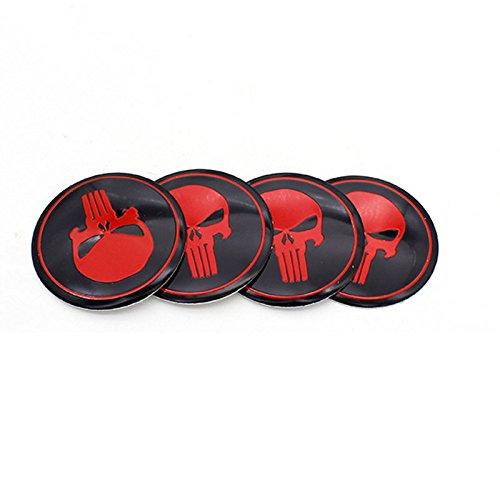 4pcs 56.5mm Skull Logo Car Hubcaps Wheel Sticker Covers Rims Emblem Center Cap Car Styling For Audi (Skull Center)