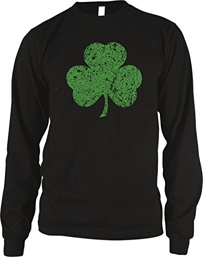 Shamrock, Lucky Clover St Patricks Day Thermal Shirt, Black Large ()