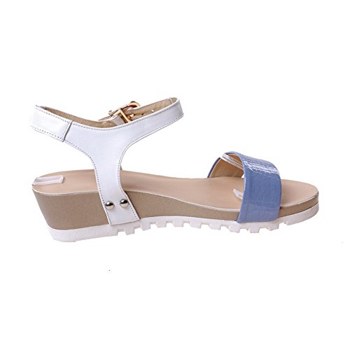 AllhqFashion Womens Low Heels Soft Material Solid Buckle Open Toe Sandals Acidblue T0b21mme