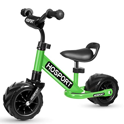 HOSPORT Toddler Balance Bike for Ages 18 Months to 3.5 Years Kids No Pedal Bicycle with Carbon Steel Frame, Adjustable Handlebar and Seat - Safe Riding for First Birthday Gift (Green) ()